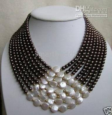 7 row united south sea white coin black pearls necklace