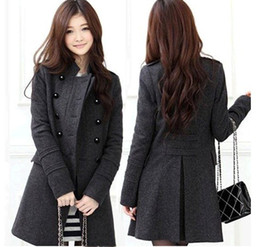 Wholesale Korean Long Frocks - Hot Korean Fashion Womens Slim Double-Breasted Winter Wool Blends Frock Coat Warmly Windproof coat 1pcs lot Free Shipping