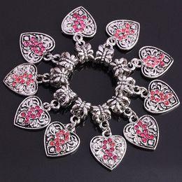 Wholesale Breast Cancer Awareness Jewelry - 50pcs Pink Crystal Rhinestone Heart European Dangle Bead Breast Cancer Awareness Jewelry Findings