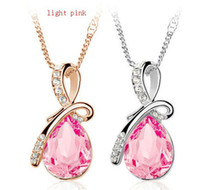 Wholesale Swarovski Elements Crystal Heart Pendant - Silver Plated Crystal Drop Pendant Necklace Austrian Crystal Necklace with Swarovski Elements Top Quality ZY1