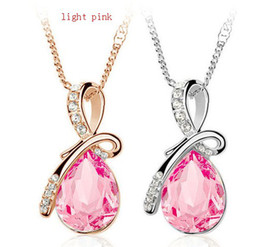 Wholesale Swarovski Drop Pendant Wholesale - Silver Plated Crystal Drop Pendant Necklace Austrian Crystal Necklace with Swarovski Elements Top Quality ZY1