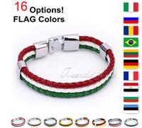 Wholesale Surfer Leather Bracelet Wristband - Flag Style Braided Rope Surfer Faux Leather Bracelet Bangle Wristband Italy Brazil Friendship Gift
