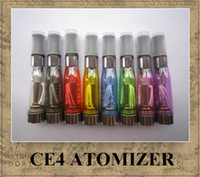 Wholesale Ego Replaceable - CE4 Atomizer 8 available colors 1.6ml 2.4ohm 4 wicks no leak math with eGo e-cig battery CE4 Clearomizer