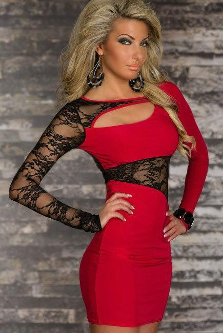 أحمر / أسود / وردة حمراء من ألياف البوليستر ، ملابس داخلية مثيرة ، مقاس M XXL ، فستان بأكمام طويلة من الدانتيل