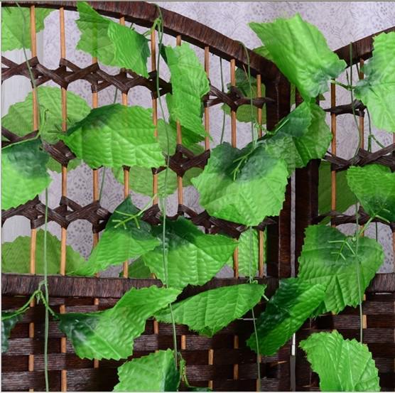 Hermosa simulación de vides trepadoras verdes artificiales de hojas de uva para el hogar decoración de la pared decoración del partido envío gratis
