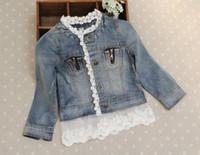 Wholesale Girl Children Princess Coat - jeans Jacket Fashion Lace Princess Coat Children Outwear Blue Denim Jackets Girls Cute Casual Coat