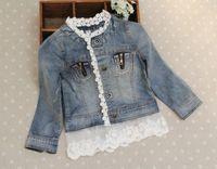 ceket çocuk kız kot toptan satış-Kot Ceket Moda Dantel Prenses Ceket Çocuk Dış Giyim Mavi Denim Ceketler Kız Sevimli Rahat Ceket