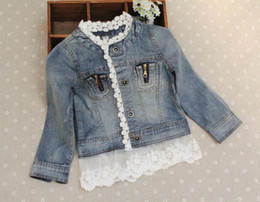 Wholesale Child Fashion Lace - jeans Jacket Fashion Lace Princess Coat Children Outwear Blue Denim Jackets Girls Cute Casual Coat