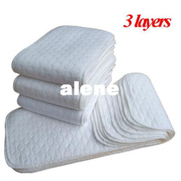Wholesale Inserts Layer Baby - Baby diapers washable reusable cloth nappies 3 layers merries Baby diaper insert super-absorbency Microfiber nappy Liners