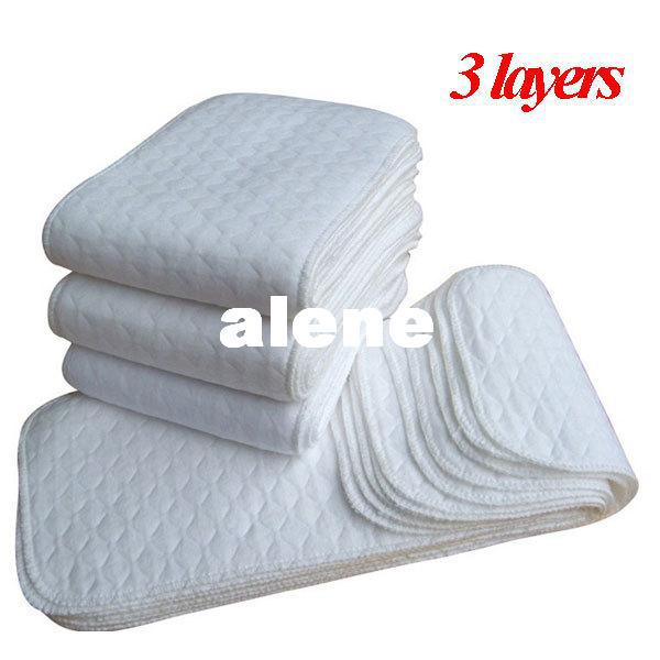 top popular 10 Pcs Lot Washable Baby Nappy Inserts 3 Layers Microfiber Reuseable Baby Cloth Diapers Insert For NewBorns Cotton Diapper Cover 2019