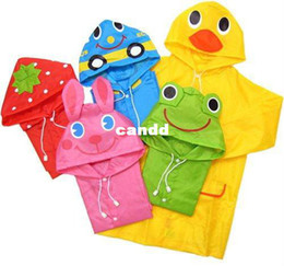 Discount kids cartoon umbrella - Kids Funny Raincoat Child Children Cartoon Baby Rain coat -Auto-Duck-Bunny-Frog
