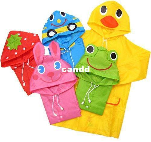 Kids Funny Raincoat Child Children Cartoon Baby Rain coat -Auto-Duck-Bunny-Frog
