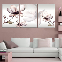 Wholesale Elegant Living Room Sets - 3 piece wall art set modern picture abstract wall decor canvas pictures for living room Quietly elegant beautiful white flowers