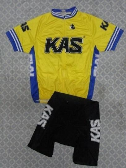2014 KasチームイエローK02半袖サイクリングジャージーサマーサイクリングウェア+ショーツセットサイズ:XS-4XL K023