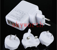 Wholesale Usb 5v 4a - 4 USB Wall Charger 5V 4A power adapter with EU+AU+UK+US plug Universal for iphone Samsung Galaxy