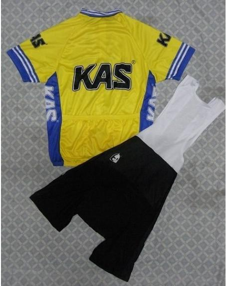 2014 KAS 노란 짧은 소매 사이클링 여름 여름 자전거 타기 + BIB 쇼트 사이즈 설정 : XS-4XL K024