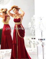 Wholesale Evenings Dresses Dhgate - 2014 DHgate Evening Dresses V Neck Gold Applique Pleat Chiffon Burgundy Vintage Pageant Prom Gowns Evening Dress BO1742