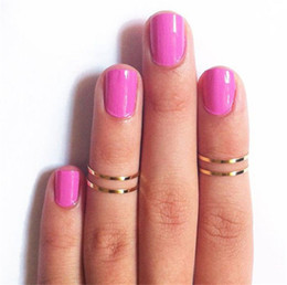 Christmas Gift Nails Canada - Women Band Midi Ring Urban Gold stack Plain Cute Above Knuckle Nail Ring Christmas Gift 1286