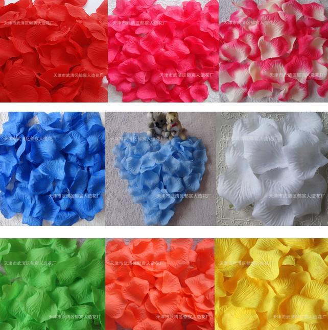 wholesale colorful silk rose flower petals wedding favors festival party decoration 5000pcs 50 bag