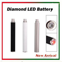 Wholesale Diamond Crystal E Cig Battery - eGo Automatic Battery with Bottom Crystal Diamond LED 650mAh 900mAh 1100mAh E Cig Battery for EGO 510 Thread Atomizers CE4 CE5 CE6 VIVI NOVA