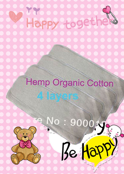 best selling Baby Hemp Organic cotton 20pcs 4 Layers Washable Baby Cloth Diaper Nappy inserts
