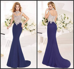 Wholesale Satin Fabric Mermaid Prom Dress - 2014 new collection spring summer autumn trumpet mermaid prom dresses sheath sexy beads crystal sequins scoop fabric satin free shipping