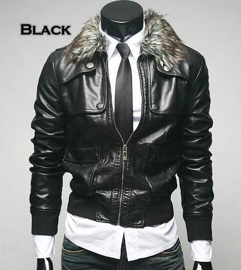 Winter New Men Leather Jacket Fur Collar Slim Fit Casual Pu Leather