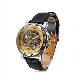 China Fashion Winner Black Leather Band Stainless Steel Skeleton watches Mechanical Watch For Man Gold Mechanical Wrist Watch Free Shipping 1pcs! cheap black gold winner watch suppliers