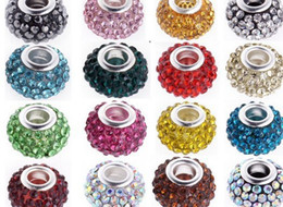 Wholesale Silver Resin Rhinestone Loose Beads - Mixed Color 10mm *12mm Resin White Rhinestone Silver Plated Core Big Hole DEF Crystal European Beads,Best Loose Beads Jewelry Findings.