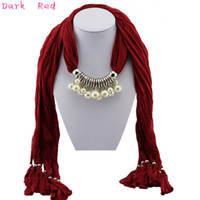 Wholesale grey pearl pendant - Pearl Pendant Necklace Pendant Scarf Mixed Colors Red Top Selling Scarves