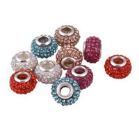 Wholesale Mixed Silver Beads - Mixed 15 Color 10mm *12mm Resin White Rhinestone Hot Silver Plated Core Big Hole DEF Crystal European Beads, Loose Beads DIY for bracelet.
