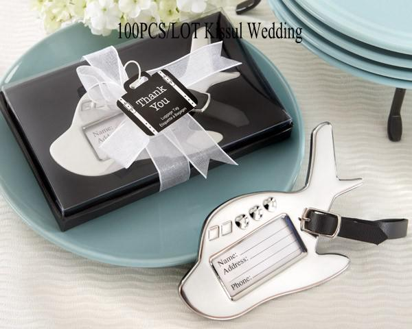 100Pcs/lot Special Little Wedding Favors of Airplane Luggage Tag in black and white gift box For Travel Themed wedding Gift and Party Favors