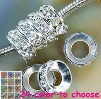 Wholesale European Rondelle Crystal - best!white Rhinestone Crystal Rondelle Spacer Beads,Rhodium Plated Big Hole European Bead for bracelet hotsale DIY Findings Jewelry