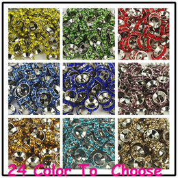 Wholesale Love Bracelet For Cheap - Cheap!Mixed Color Rhinestone Crystal Rondelle Spacer Beads,Rhodium Plated Big Hole European Bead for bracelet hotsale DIY Findings Jewelry