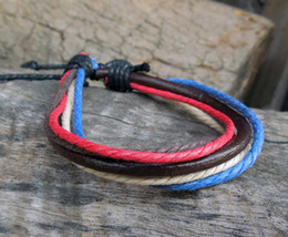 Wholesale Tribal Men Jewelry - New Hemp Surfer Tribal Multilayer Genuine Leather Bracelet with Braided Rope Men And Women Fashion Jewelry 1296