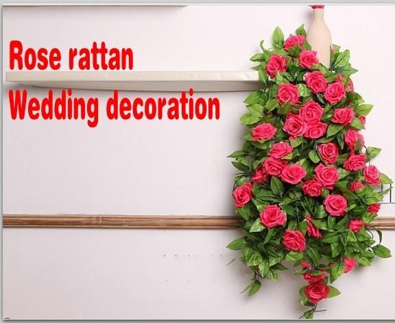250 CM 1pcs Artificial Rose Flower Rattan Upscale Climbing Vines Festivals Cane Wedding Decoration Flowers Six Color