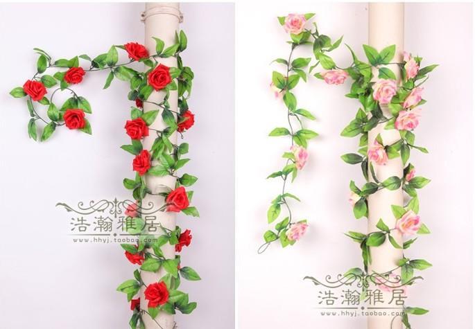 250 CM 1 pz Artificiale Fiore di Rosa Rattan di Lusso Arrampicata Vines Festival Cane Decorazione di Cerimonia Nuziale Fiori Sei Colori
