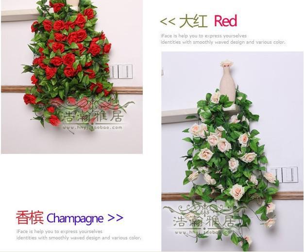 250 CM 1 stücke Künstliche Rose Blume Rattan Gehobene Kletterpflanzen Festivals Cane Hochzeit Dekoration Blumen Sechs Farbe
