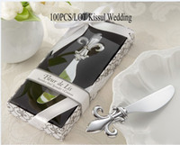 Wholesale Birthday Express Invitations - Fleur de lis Chrome Spreader Wedding Favor for kitchen gifts and wedding door gift 100pcs lot Drop shipping by express Quality promise