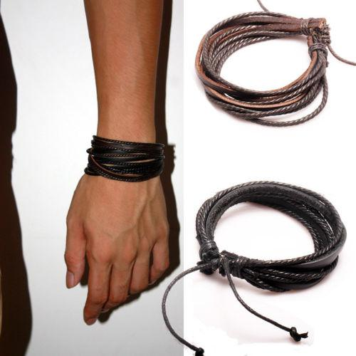 best selling Mens Bracelets Wrap Multilayer Genuine Leather Bracelet with Braided Rope Fashion Jewelry Christmas Charm Bracelets 1300