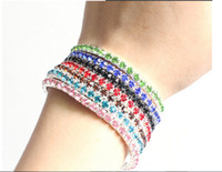 Wholesale Pcs Stretch Bracelet - 2014 New Colorful Spring Rhinestone single-row stretch bracelet Bracelet 20 Pcs   lot