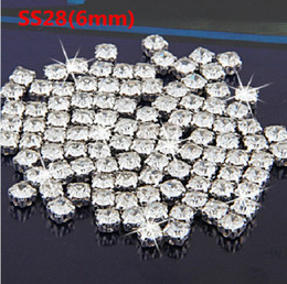 Wholesale Glass Beads For Sewing - SS28(6mm) Silver Plated 720Pcs Crystal Sew On Rhinestone Flatback Beads Metal Findings for Jewelry Making Sew-on Beads