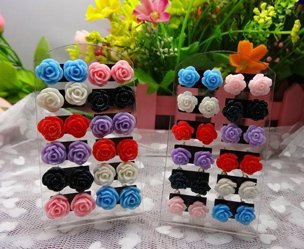 best selling wholesale Price Hot Sale Fashion Multicolor Resin Rose Earrings Flower Stud Earrings For Women Flower Earrings TL1