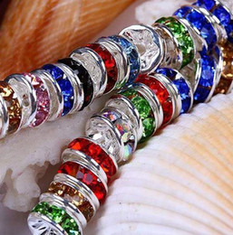 Wholesale Rondelle Spacer Round Mixed - Best! free shipping 300pcs lot mixed 10mm crystal Spacer Rondelle Spacer Silver Plated Bead for bracelet hotsale DIY Findings Jewelry