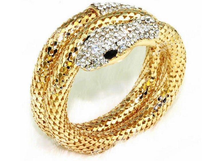European Style Gold Plated Clear Crystal Snake Cuff Bangle Bracelet Elegant Punk Gold Crystal Snake Bangle Bracelet Drop Shipping