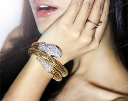Wholesale Chunky Gold Plated Chain - Fashion Element Alloy Vintage Retro Punk Crystal Chunky Curved Stretch Rhinestone Gold Snake Cuff Bangle Bracelet Wristband Christmas Gift