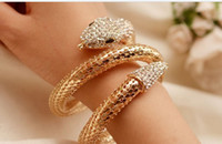 Wholesale European Style Cuffs - European Style Gold Plated Clear Crystal Snake Cuff Bangle Bracelet Elegant Punk Gold Crystal Snake Bangle Bracelet Drop Shipping