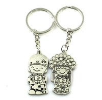 Wholesale Keychain Grooms - 100pcs 1lot NEW Wedding Keychain Lovers Keychain Chinese bride groom Style Stainless alloy steel Key Chain High Quality Keychain Favors 115
