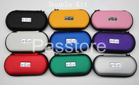 Wholesale E Cigarette Battery Casing - Ego CE4 Starter Kit Electronic Cigarette E-Cigarette Zipper case Double Kit 2 Atomizers 2 Battery 650mah 900mah 1100mah 9 Colors