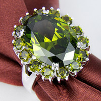 Wholesale Valentine Times - 2015 Promotion Time-limited Cone Tapered Bearing Rodamiento Roller Valentine Love Gift Huge Natural Green Zircon Elegant Jewelry Rings R0473